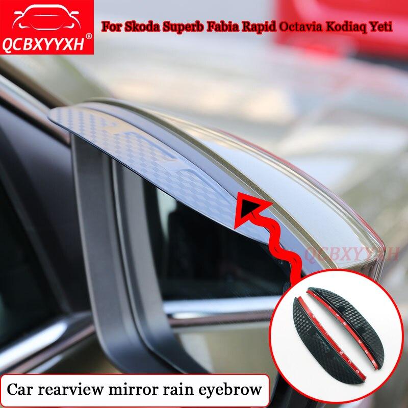 QCBXYYXH Car Styling For Skoda Superb Fabia Rapid Octavia Kodiaq Yeti Car Rearview Mirror Rain Eyebrow Auto Decoration Accessory