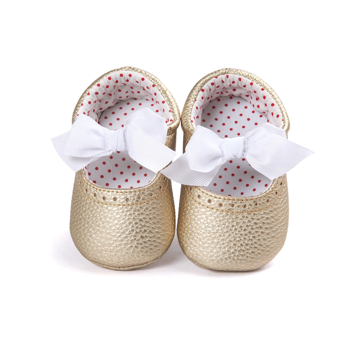 New Arrival Gold Sweet Girl font b Baby b font Shoes Leather Bowknot Newborn Infants Moccasins