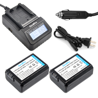 2pc NP FW50 NPFW50 FW50 Battery LCD Quick Charger For Sony A6000 A6500 NEX 7 NEX