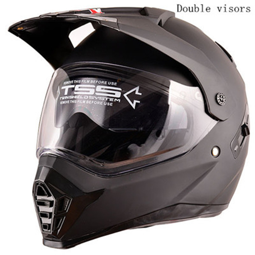 Dual Sport Helmet by WANLI Full Face Motocross & Motorcycle Helmets Dot Approved With double lens Matt Black XS S M L XL size no2 free shipping bluetooth helmet for phone motorcycle helmet roadcross double visors racing helmets with sunny lens s m l xll