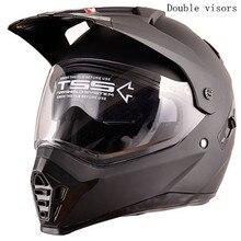 Dual Sport Helmet by WANLI Full Face Motocross & Motorcycle Helmets Dot Approved With double lens Matt Black XS  S M L XL size цена