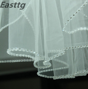 Image 3 - 샴페인 화이트 아이보리 웨딩 액세서리 3M 대성당 크리스탈 에지 웨딩 베일 사용자 정의 만든 길이 1 계층 신부 베일 빗