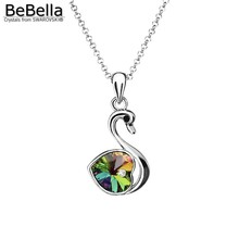 BeBella cute swan pendant necklace animal jewelry Made with Austrian crystals from Swarovski Elements for women gift 2017(China)