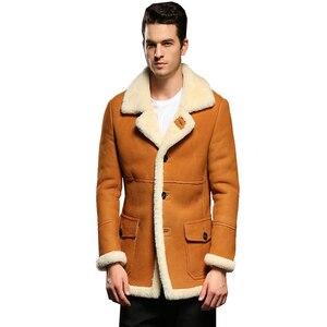 Image 2 - Hot Garantiert Echtes Leder Schaffell Pelz Lammfell Männlichen Dicken Pelz Kleidung Gelb Winter Schaffell Jacke Männer Pelz Mantel