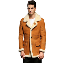ФОТО guaranteed genuine leather sheepskin fur shearling male thick fur clothing yellow winter sheepskin jacket men fur overcoat