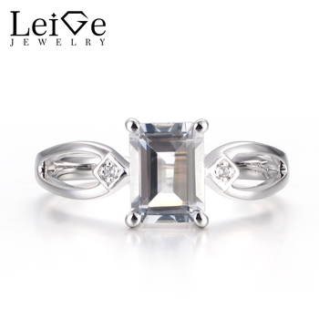 LeiGe Jewelry Natural White Topaz Rings November Birthstone Promise Rings Emerald Cut Gems Rings 925 Sterling Silver for Women