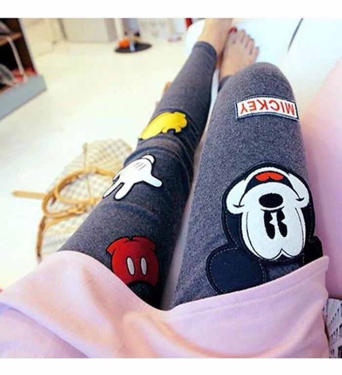 Spring New high waist women leggings Harajuku kawaii cartoon Mickey Mouse pants wear elastic large size women feet pants 15