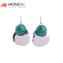 2017 Newest Drop Shipping Store Ethnic Fashion Women Silver Plated Green Charms Stone Pendants Statement Drop