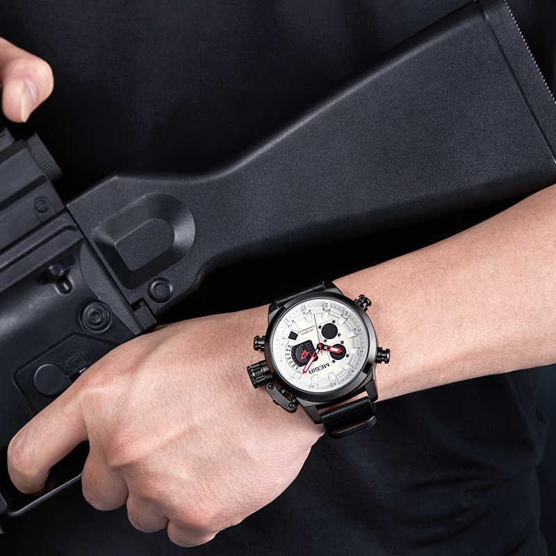 Reloj de pulsera MEGIR de cuarzo deportivo para hombre, cronógrafo de cuero, resistente al agua, reloj militar para hombres, reloj de lujo de marca superior, relojes masculinos