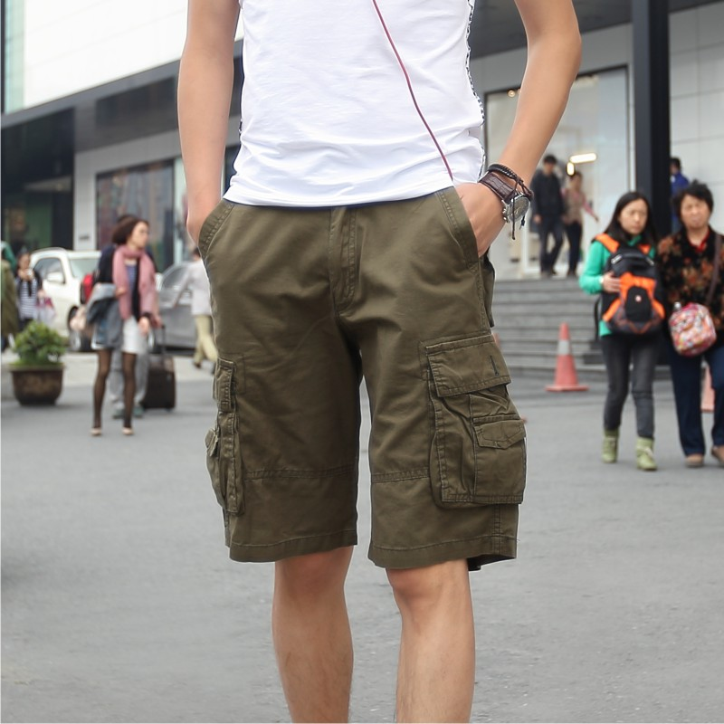 Casual 5 Colors Cotton Military Army Combat Multi pockets Men's Cargo Shorts Size 30-38 Hip pop