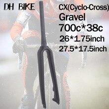цена на CX MTB 29er Fork For Disc Brake UD Carbon 700C MTB Fork Cyclo Cross Gravel Travel Rigid Carbon Road Bike Fork 26er Bicycle Parts