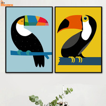Cartoon Woodpecker Bird Wall Art Canvas Painting Nordic Posters And Prints Animal Canvas Art Wall Pictures For Living Room Decor nordic bird canvas art prints and posters monochrome canvas painting wall art picture for living room home decor