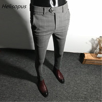 Helisopus Dress Pants Men Solid Color Slim Fit Male Social Business Casual Skinny Suit Trousers