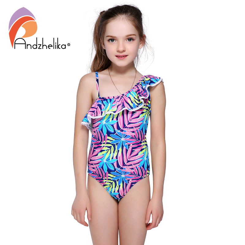 Andzhelika 2018 Swimsuit Children's Cute Lotus Leaf Swimwear One Piece Kid Summer One Shoulder Swimsuit Girls Sport Bathing Suit big size 32 43 brand new 2016 summer sandals for women rhinestone casual retro sweet ladies fashion leisure shoes flat sandals