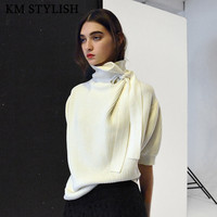 Fashion Sweater Women's Knitted Slim Thin Five Sleeve Puff Sleeve Irregular Sweater Red ,White , Black Color