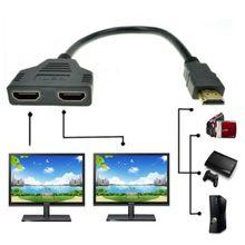 1 шт., совместимому с HDMI 2 Dual Порты и разъёмы Y сплиттер HD 1080P v1.4 мужчина к двойной женский адаптер кабель 1 в 2 из HDMI конвертер Кабель-переходник