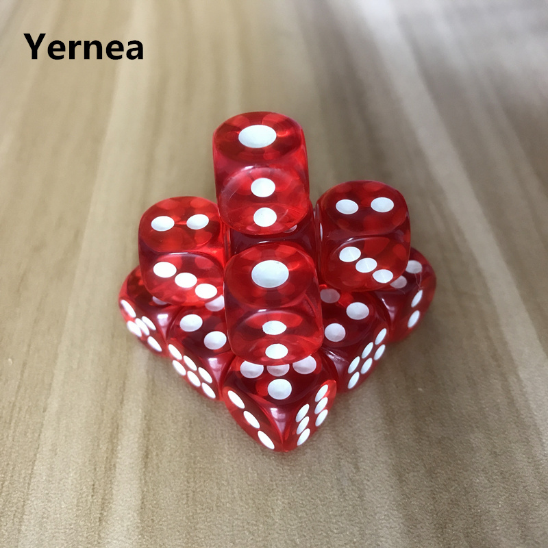 10Pcs/Lot  Quality 12mm Acrylic Transparent Red Dice White Point Dice Hexahedron Fillet Entertainment Bar KTV Dice Set Yernea