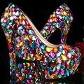 Brillo de cristal Multicolor de La Moda de La Boda Zapatos de Plataforma de Las Señoras Zapatos de Tacón Alto Zapatos de Noche Discoteca Vestido de Baile