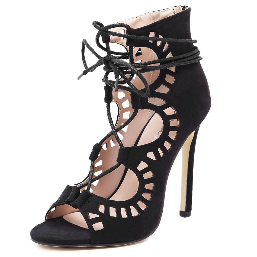 Fashion Women Pumps Women Shoes Sandals Lace up High Heels Cut Outs Shoes Summer Open Toe Sapato Femininos Mujer