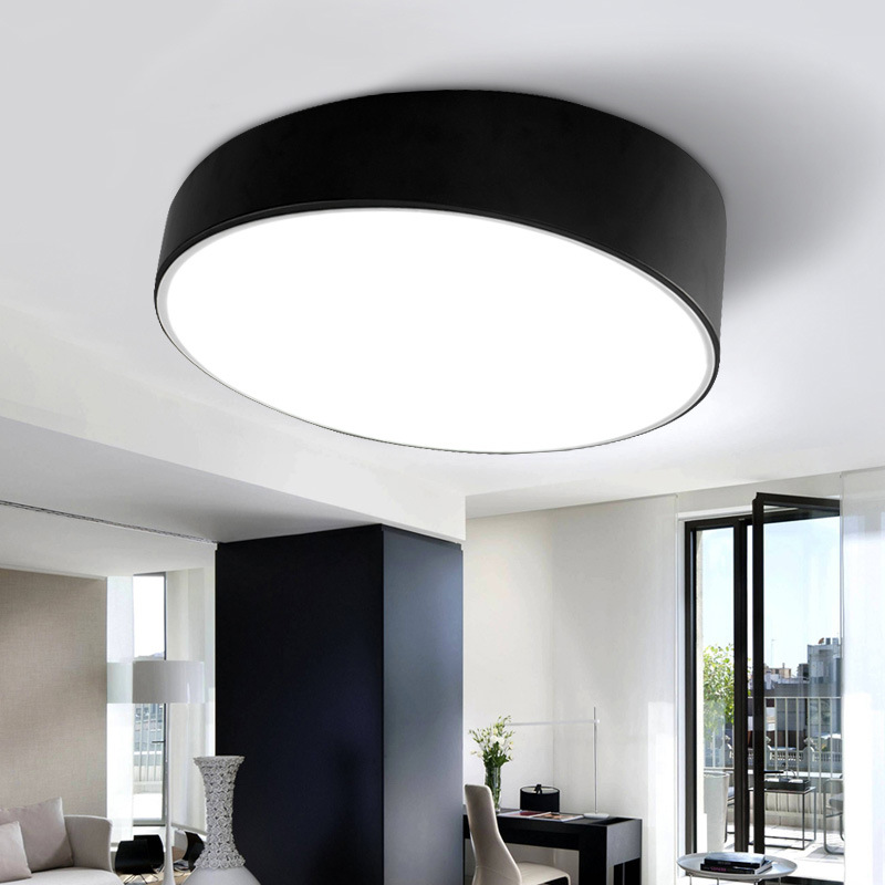 Modern Black White Led Ceiling Lights Balcony Kitchen Living Room Minimalism Inclined Cylinder