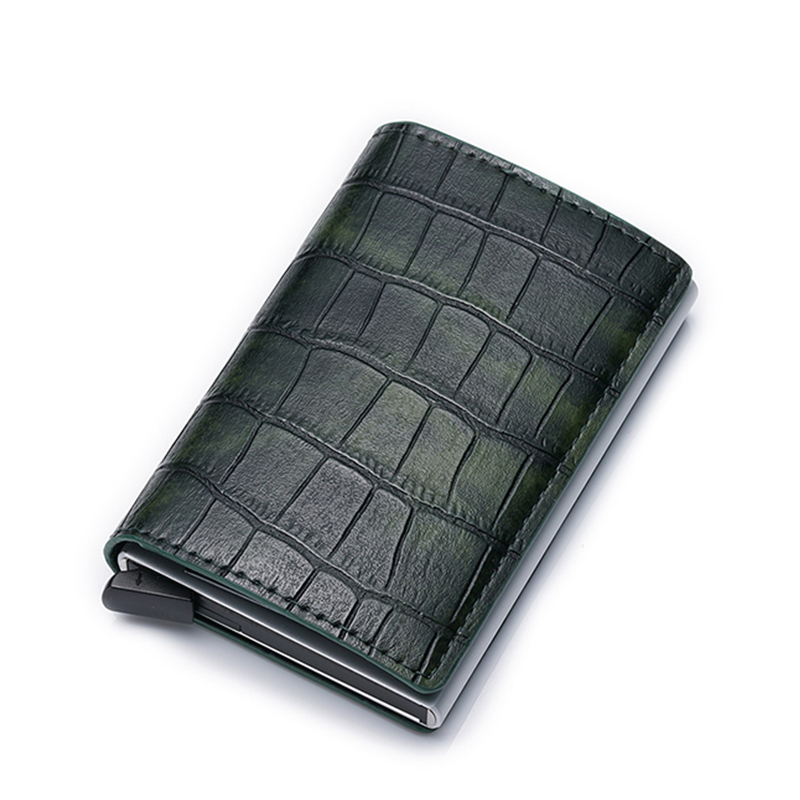 Wallet Credit-Card-Holder Anti-Theft-Card-Pack Crocodile-Pattern RFID Aluminum-Alloy