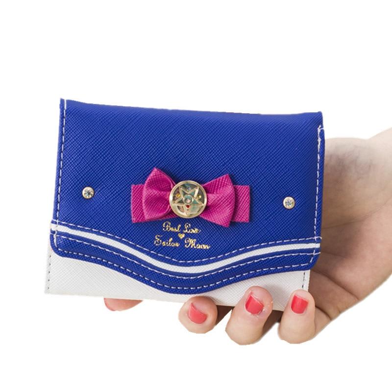 Kawaii Sailor Moon Designer Female Leather Wallet Women Bowknot Clutch Lady Fashion Brand Short/Long Purse Organizer Insert billetera sailor moon