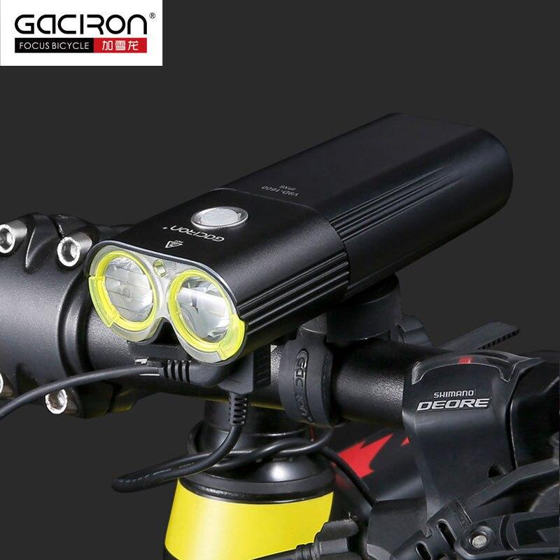 Gaciron V9D велосипед фар двойной фишек Супер яркий велосипед L2 светодио дный передняя лампа 1600 люмен внутренний Батарея USB зарядка