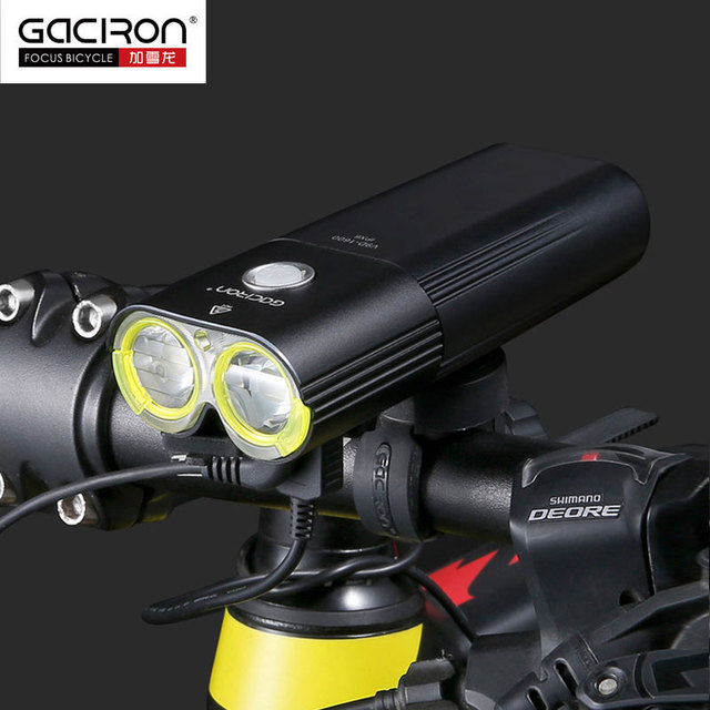 Gaciron V9D Bicycle Headlight Dual Chips Super Bright Bike L2 LED Lamp Front Lamp 1600Lumens Internal Battery USB Charge
