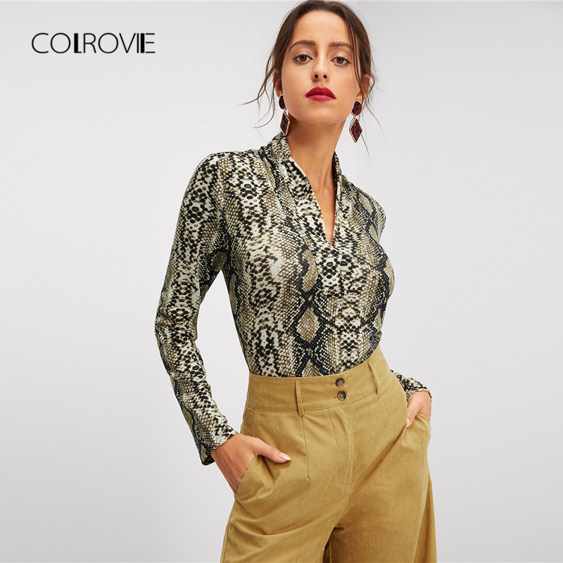 COLROVIE Multicolor V Neck Snake Skin Print Top Elegant   Blouses   2018 Long Sleeve Ladies   Blouse     Shirt   Women Tops And   Blouses