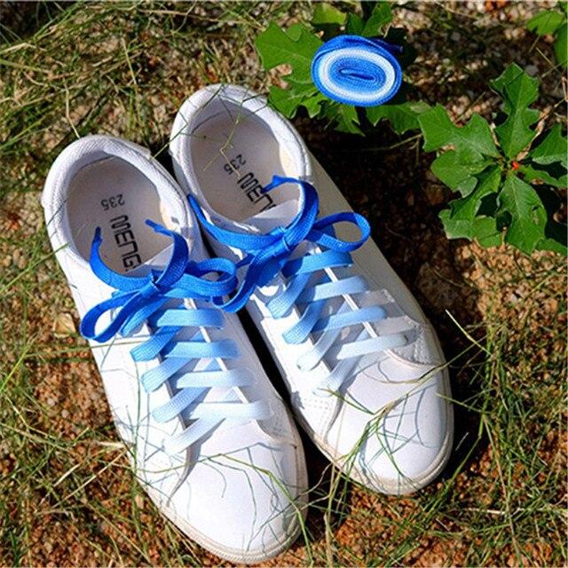1 par plano Color caramelo gradiente que cambia los colores de los cordones de los zapatos de fiesta botas de Camping cordones de lona cuerdas de lona