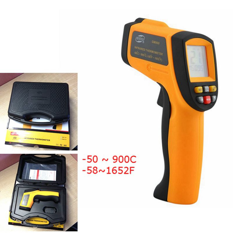 ФОТО GM900 -50~900C -58~1652F Pyrometer IR Digital Non-contact Infrared Thermometer Temperature Gun With retail box Free shipping