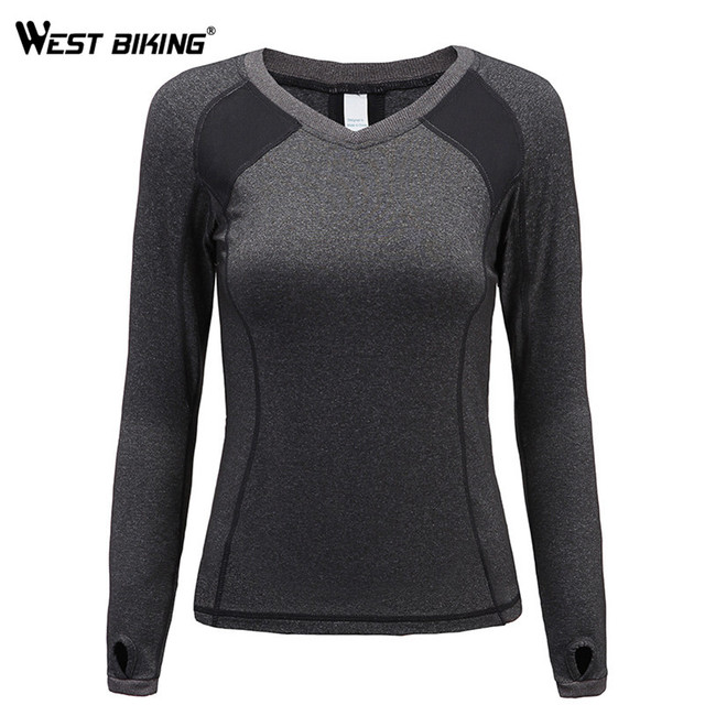 d67b8ab9b75 WEST BIKING Women s Long Sleeve Stretchy Top T-Shirt Yoga Running Gym Sport  Fast Dry Spandex Workout Tee Tops Jersey Shirts