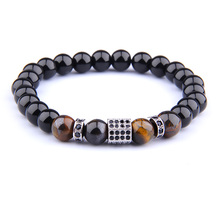 Vinswet Natural Tiger Eye Onyx Bracelet For Women Men Jewelry Marking CZ Charm Energy