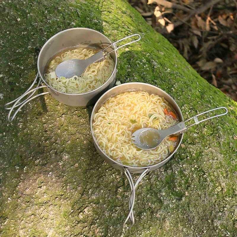 titânio pan colher spork fogão conjunto acampamento