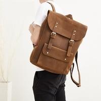 100% Genuine Leather Backpack Men Retro Travel Backpacks 15 Laptop Bag Real Leather School Weekend Shoulder Packs High Quality