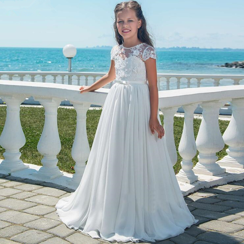 Simple Flower Girl Dresses White ivory Pageant Lace Applique Chiffon For Weddings First Communion Dresses