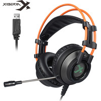 XIBERIA K9 PC Gamer Headset USB Virtual 7.1 Sound Gaming Headphones casque Stereo Bass Best Computer Headsets with Mic LED Light