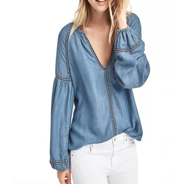 2017 летняя одежда женские Топы Повседневная Блузка с вышивкой Длинные рукава рубашки женские джинсовые женские блузки свободные женская одежда