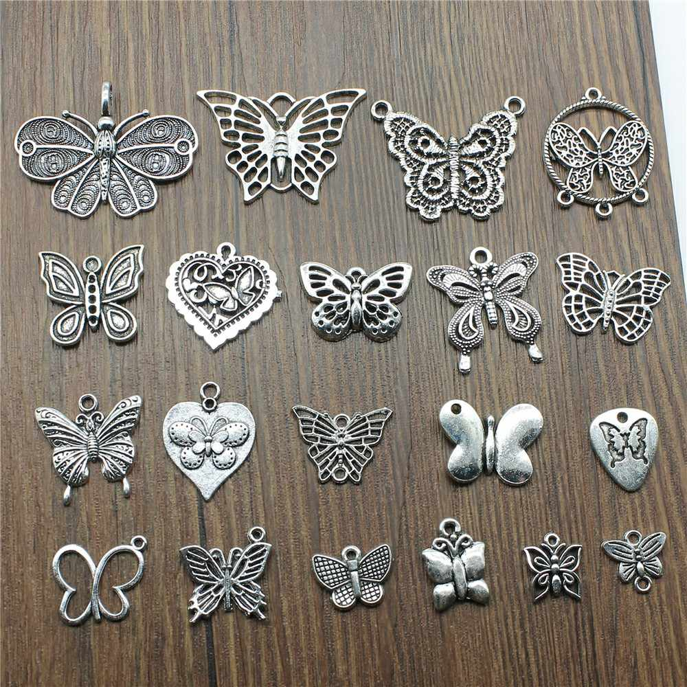 10pcs Butterfly Antique Silver Color Butterfly Pendant Charms Charms For Jewelry Making Butterfly Charms