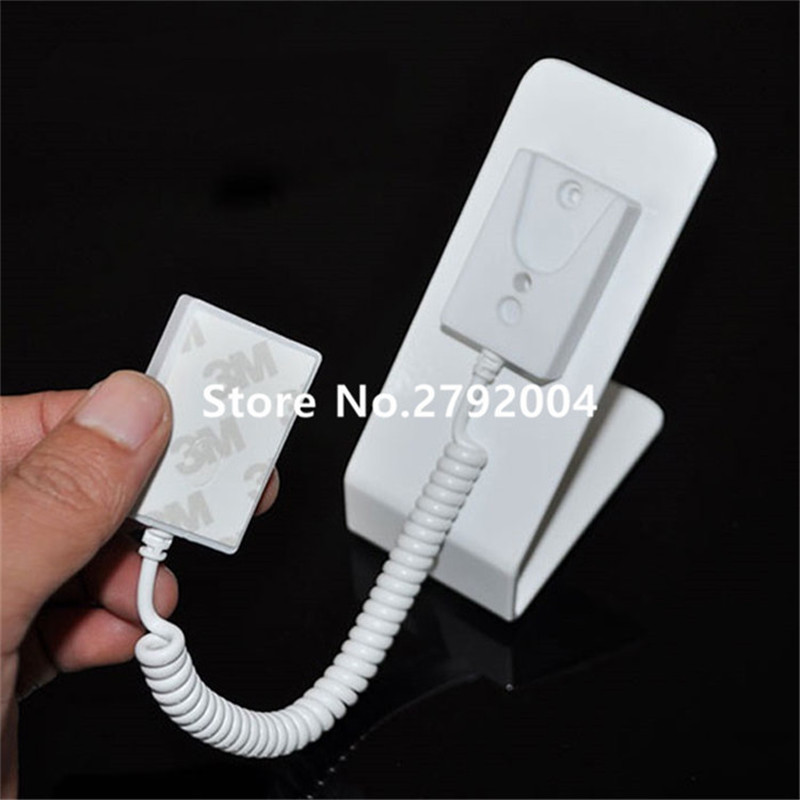100pcs/lot Promotion Flexible Metal White Color Mobile Phone Pull Box Anti Theft Holder