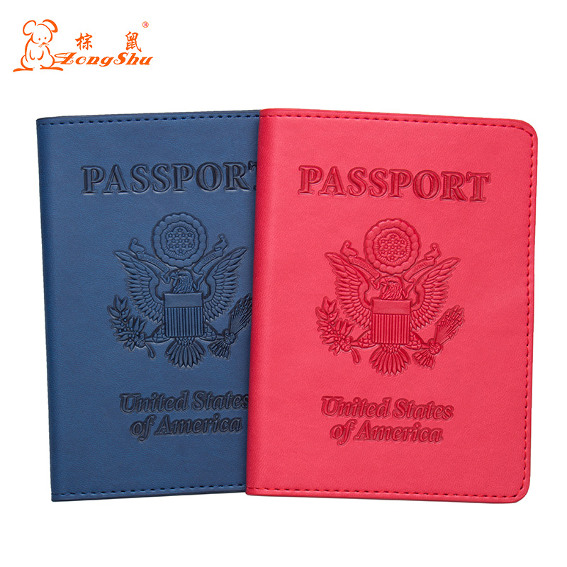 Coin Purses & Holders Usa Blue Embossing Double-headed Eagle Pu Leather Travel Passport Holder Built In Rfid Blocking Protect Personal Information Preventing Hairs From Graying And Helpful To Retain Complexion