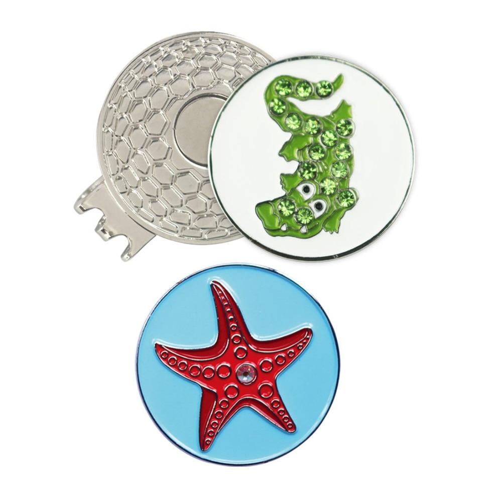 Cocodrilo y Estrellas de Mar de cristal de Golf Marcador de la Bola con el Clip