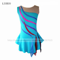 Figure Skating Dress Women's Girls' Ice Skating Dress Sky blue High elastic spandex fabric Polychromatic stripe decoration