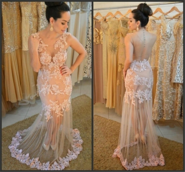 2017 Sexy Sheer Gala Formal Evening Gown Dress Modest Turkish Latest