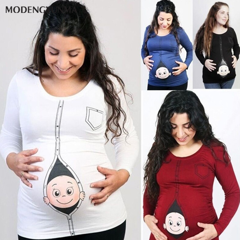 Hot Sale Cute Pregnant Maternity T Shirts New Casual Pregnancy Maternity Clothes With Baby Peeking Out Shirts Pregnant Clothes