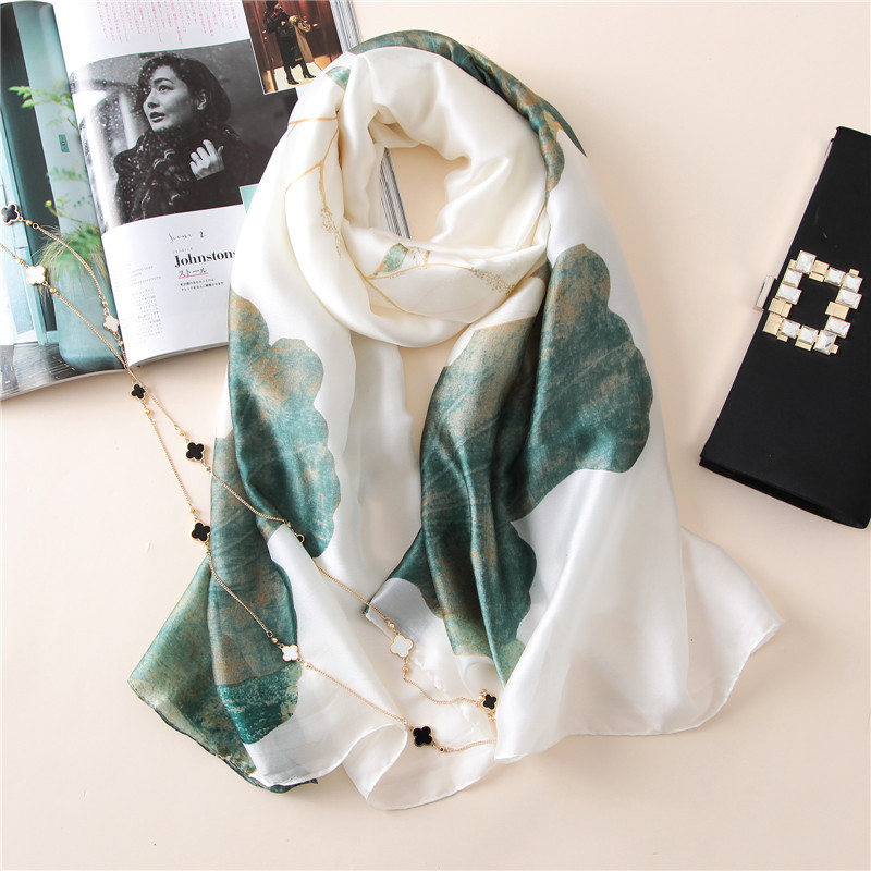 2019 Fashion Women 100% Pure Silk Scarf Female Spain Luxury Brand Print Soft Floral Shawls And Wraps Beach Cover-Ups Hijab Snood
