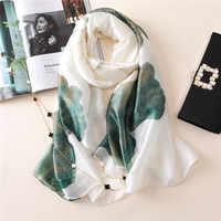 2020 Fashion Women 100% Pure Silk Scarf Female Spain Luxury Brand Print Soft Floral Shawls and Wraps Beach Cover-Ups Hijab Snood