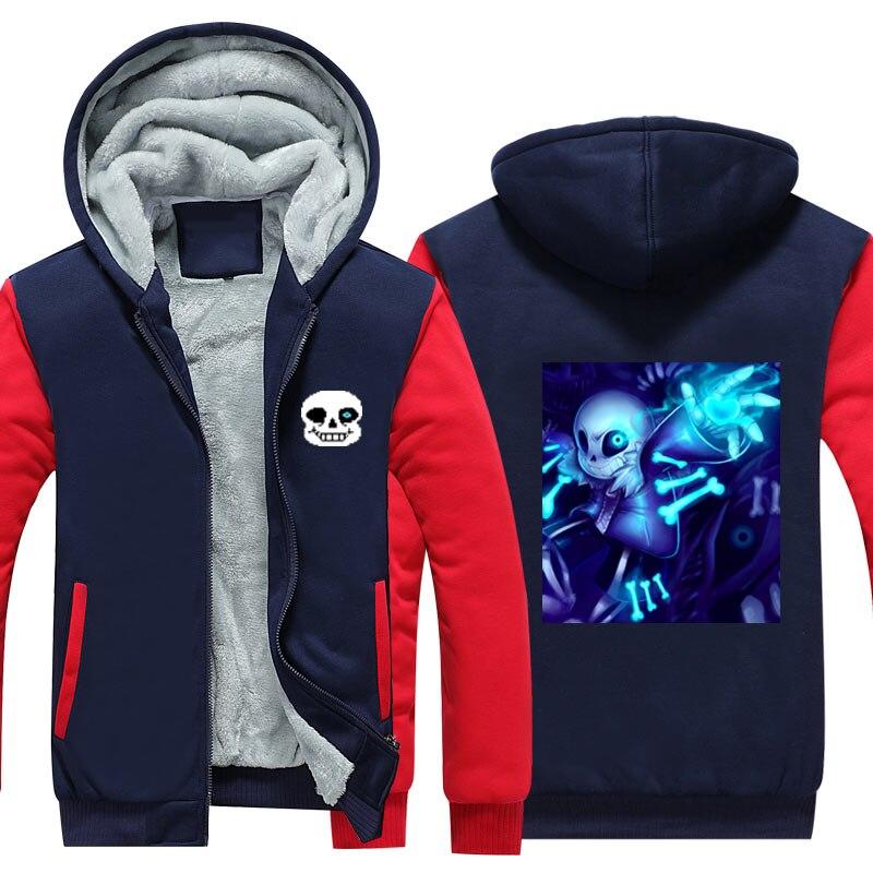 Undertale Costumes Thickness Hoodies Adult Velvet Baseball Sweatshirt Sans Throw Bone Men Winter Jacket USA Size