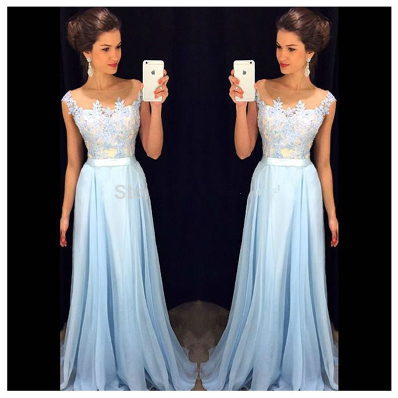Prom-Dresses Beading Evening-Dress Chiffon Long Vestido New Scoop Fashion A-Line Floor-Length
