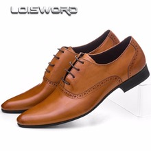 LOISWORD Large size EUR45 brown tan / black / brown mens dress shoes genuine leather oxford business shoes mens wedding shoes